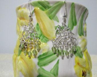 Ornate Peridot Sterling Silver Earrings