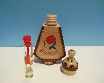 Bulgarian Wooden Bottle with Perfume - souvenir