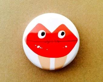 Lip Man, Pinback, Button, ledlips, pins, lip, red, creature,