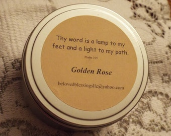Golden Rose 8oz Soy Candle Tin
