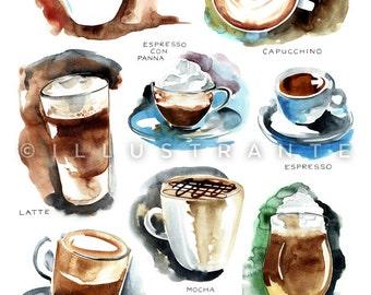 Coffee art print, coffee decor kitchen, coffee watercolor, coffee painting, 8x10 print, kitchen artwork, kitchen prints, kitchen painting.
