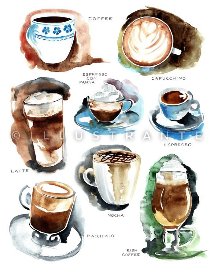 Coffee art print coffee decor kitchen coffee watercolor for Coffee watercolor