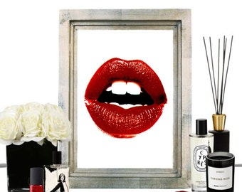 Kiss This Art Print-Red