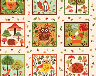 Makower Forest Friends Labels on a Cream Background 100% Cotton Fabric
