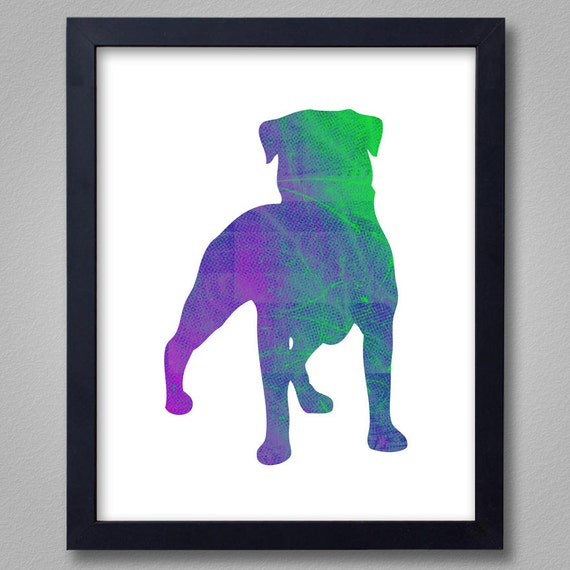 Rottweiler Art Print - Proceeds to Shelters - Dog Wall Art - Abstract Digital Animal Painting