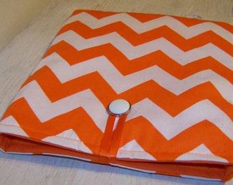Cover Ipad Sleeve, Chevron Orange and White Case, Handmade Cover