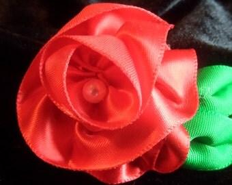 Small Red Ribbon Rose Hair Clip/Brooch