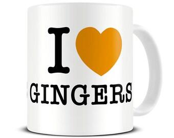 I Love Gingers Coffee Mug - funny ginger gifts - MG001