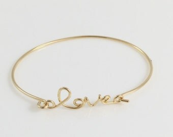 Fashion Simple Shinny Love Yellow Gold Bracelet