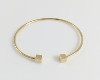 Block Cuff Yellow Gold Bracelet/Fashion Jewelry/Polish Bracelet/Perfect for any occasion
