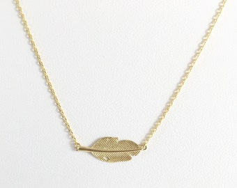 Feather Gold Necklace, Dainty Necklace, Everyday Necklace, Gift For Her