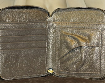 Leather Wallet, Soft Gold Metallic DS110