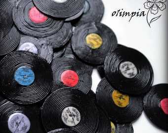 vinyl records light earrings retro style music fan retro funky round earrings realistic vinyl miniature record polymer clay lightweight