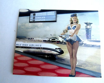 """Mile High Airlines Air Hostess White Inside Of Card by Max Hernn 5"""" By 4"""" Blank Inside"""