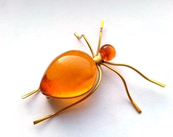 Vintage brooch Baltic Amber Spider