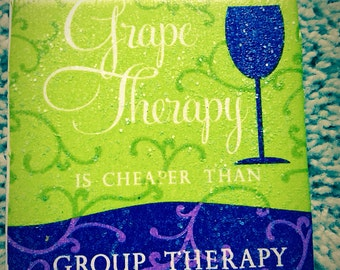 Grape Therapy Ceramic Tile Coasters (set of 4)