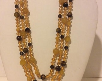 Yellow and brown beaded chunky layered necklace