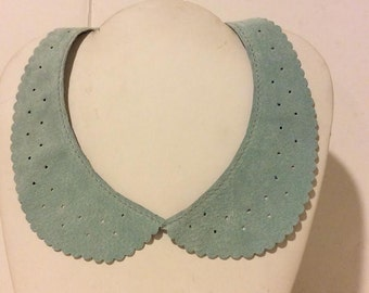 Baby blue soft suede leather peter pan collar tie back necklace