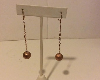 Rose gold coated over sterling silver ball drop earrings