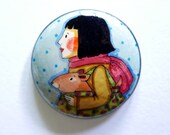 Lady with Dog - Hand painted wooden brooch or pendant