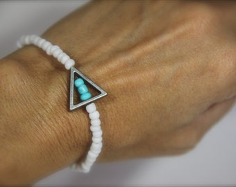 Turquoise White Stretch Bracelet Anklet Beaded Triangle Charm Boho Jewelry Delta Delta Delta Tri Delt Sister Sorority Gift under 20 Friends
