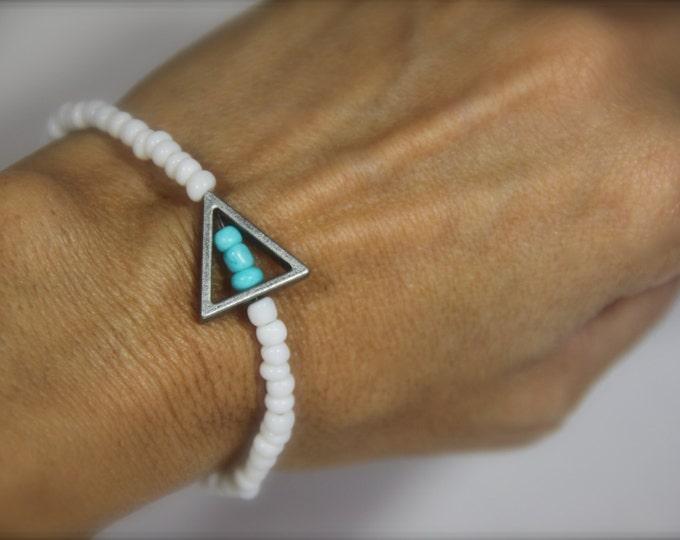 Turquoise White Stretch Bracelet Anklet Beaded Triangle Charm Boho Jewelry Delta Delta Delta Tri Delt Sister Sorority Gift under 20 Friends