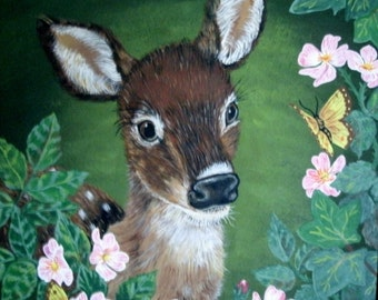Original Deer Painting, fine art, acrylic, realism, animal, woodland, home decor, rustic, wildlife, fawn, country western, nature