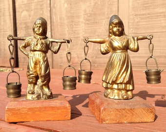 Vintage French Brass Figurines - Dutch Boy and Girl Carrying Water with Yoke