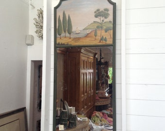 Antique French Painted Trumeau Mirror, Sailing Ships