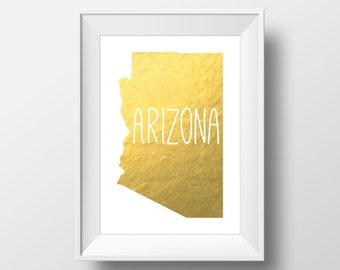 Arizona State Gold Foil Printable Art, Arizona Print, Arizona Art, Modern Art,