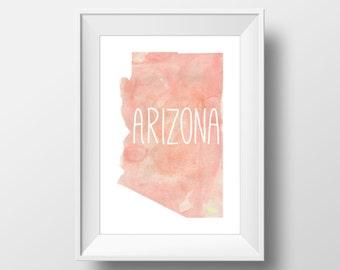 Arizona State Pink Watercolor Printable Art, Arizona Print, Arizona Art, Modern Art,