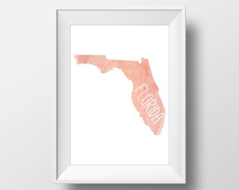 Florida State Pink Watercolor Printable Art, Florida Print, Florida Art, Modern Art,