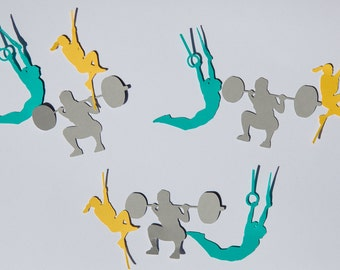 Crossfit confetti, crossfit party, muscle up, rope climb, back squat, crossfit decorations, crossfit, set of 30, confetti