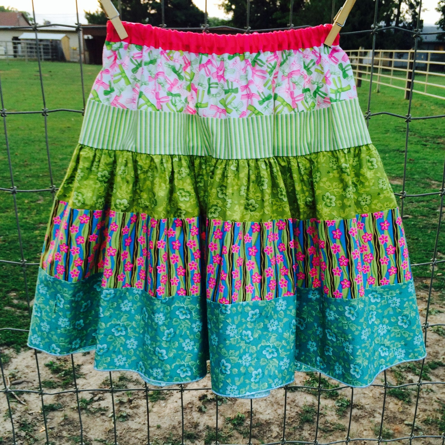 pink green and blue skirt by wheresisterscreate on etsy