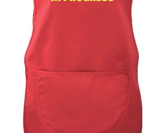 Drug Round In Progress Red Tabard Hospital Care Home Printed Front & Back Tabbard