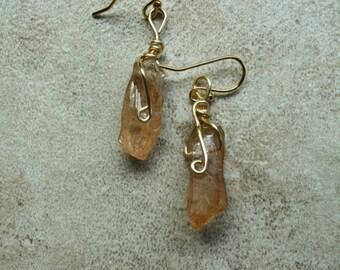 76 Quartz dangle wire wrapped earrings