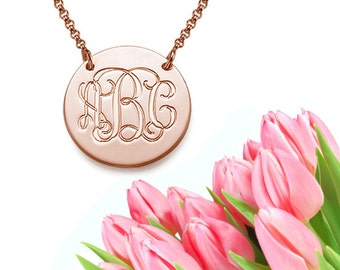 Engraved Disk Pendant (rose gold)