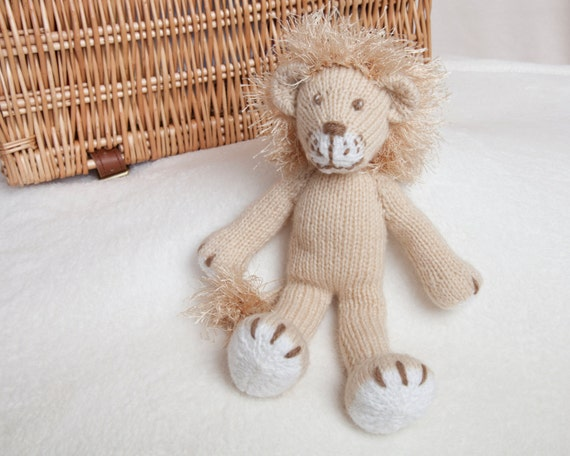 Knitting Pattern For A Toy Lion : Pdf Knitting Pattern Lion Toy by Angela Turner