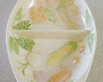 Hand Painted Divided Vegetable Dish