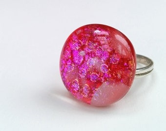 Dichroic Fused Glass Adjustable Sterling Silver Ring  - Tectonik Collection - Pink, fuschia (R43)