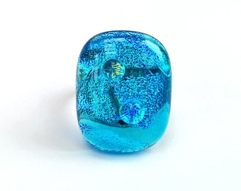 Dichroic Fused Glass Adjustable Ring  - Chroma Collection - Turquoise blue (YR51)