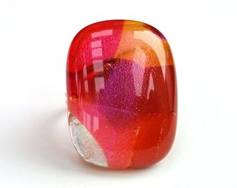 Dichroic Fused Glass Adjustable Sterling Silver 925  Ring  - Mirage Collection - Red, pink, fuschia, amber, purple (MR60)