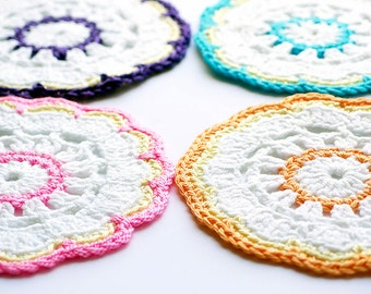 Colourful Handmade Crochet Coaster Set