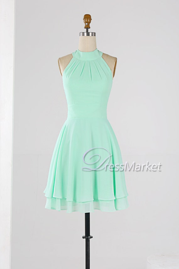 mint green high collar homecoming dressknee length by