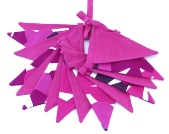 Fabric Flag Banner / Pennant / Bunting / Pink / Purple