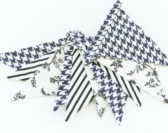 Fabric Flag Banner / Pennant / Bunting / Striped / Houndstooth Print / Floral / Black & White