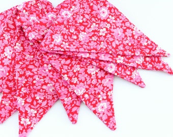 Fabric Flag Banner / Pennant / Bunting / Floral / Pink