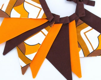 Fabric Flag Banner / Pennant / Bunting / Brown / Orange
