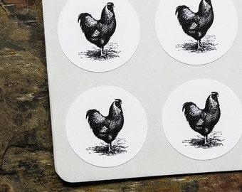 Chicken Stickers, Chicken Labels, Keyhole Stickers, White Stickers, Envelope Seals, Rustic Labels, Envelope Stickers, Chicken Seals