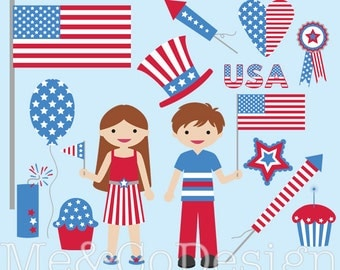 Independence Day Clipart, Red and Blue, Patriotic Children Instant Download, Personal and Commercial Use Clipart, Digital Clip Art